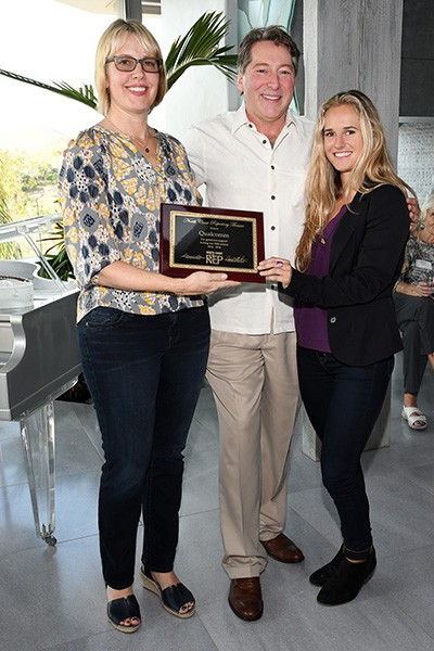 Christi Gilhoi (representing Qualcomm, honoree), David Ellenstein (NCRT artistic director), Rebecca Herndon (representing Qualcomm, honoree)