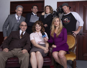 The Outsider – Cast_ Front L-R John Seibert, Jacque Wilke, Natalie Storrs_ Back L-R Louis Lotorto, Christopher M. Williams, Shana Wride & Max Macke – photo by Aaron Rumley